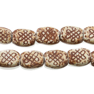 Tan Celtic Knot Ceramic Oval 13x16mm BeadsBeads by Halcraft Collection