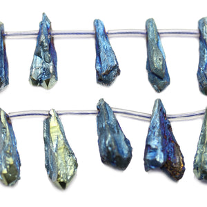 Natural Raw Quartz Agate Stone Blue Iris Plated Teardrop Beads 12x35mm, Approx.Beads by Halcraft Collection