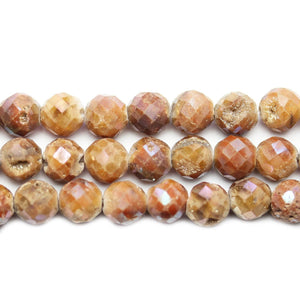 Natural Druzy Agate Stone Amber Luster Coated 8mm Faceted Round BeadsBeads by Halcraft Collection