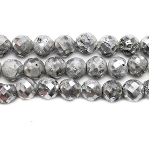 Natural Druzy Agate Stone Silver Iris Plated 8mm Faceted Round BeadsBeads by Halcraft Collection