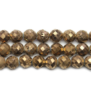 Natural Druzy Agate Stone Chocolate Metallic Plated 8mm Faceted Round BeadsBeads by Halcraft Collection