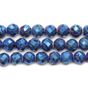 Natural Druzy Agate Stone Dark Blue Iris Plated 8mm Faceted Round BeadsBeads by Halcraft Collection