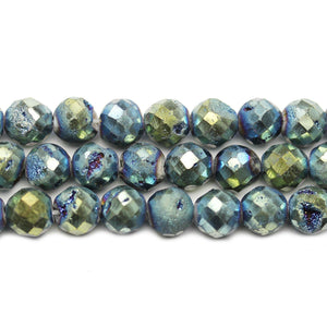Natural Druzy Agate Stone Green Iris Plated 8mm Faceted Round BeadsBeads by Halcraft Collection