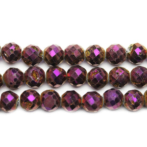 Natural Druzy Agate Stone Dark Purple Iris Plated 8mm Faceted Round BeadsBeads by Halcraft Collection
