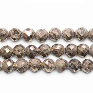 Natural Druzy Agate Stone Chocolate Iris Plated 8mm Faceted Round BeadsBeads by Halcraft Collection