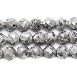 Natural Druzy Agate Stone Silver Iris Plated 10mm Faceted Round BeadsBeads by Halcraft Collection