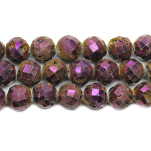Natural Druzy Agate Stone Dark Purple Iris Plated 10mm Faceted Round BeadsBeads by Halcraft Collection