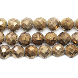 Natural Druzy Agate Stone Chocolate Metallic Plated 10mm Faceted Round BeadsBeads by Halcraft Collection