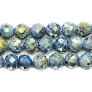 Natural Druzy Agate Stone Green Iris Plated 10mm Faceted Round BeadsBeads by Halcraft Collection
