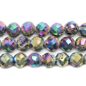 Natural Druzy Agate Stone Rainbow Iris Plated 10mm Faceted Round BeadsBeads by Halcraft Collection