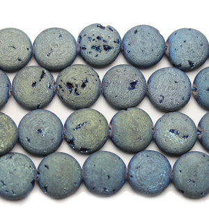 Natural Druzy Agate Stone Blue Iris Plated 12mm Coin BeadsBeads by Halcraft Collection