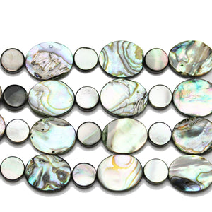 Abalone Shell Oval 12x14 & Black Lip Shell Lentejas 8 mm Cuentas de Halcraft Collection