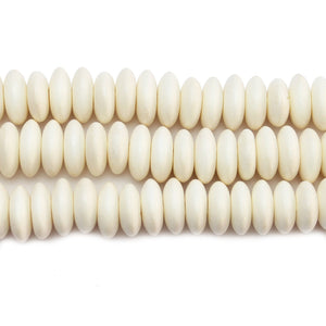 Philippine White Wood 12mm Heishe Rondell BeadsBeads by Halcraft Collection