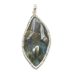 Labradorite Stone Drop with Rhinestones 32x42mm PendantPendant by Halcraft Collection