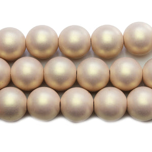 Round Pearlized Champagne Rose 16mm Round Beads