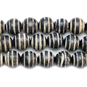 Philippine Black Wood 15mm Swirl Round BeadsBeads by Halcraft Collection