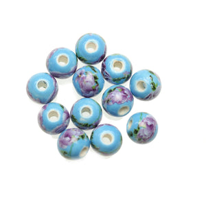 Light Blue & Lavender Ceramic Flowers Round 10mm BeadsBeads by Halcraft Collection