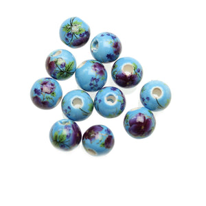 Light Blue & Purple Ceramic Flowers Round 10mm BeadsBeads by Halcraft Collection