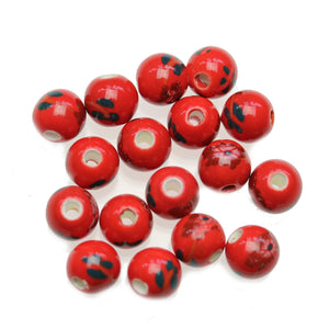 Red 10mm Round Flower Mix Ceramic Beads - Beads by Bead Gallery