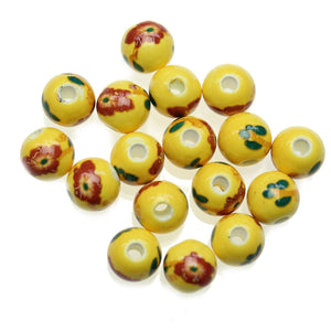 Yellow 10mm Round Flower Mix Ceramic Beads - Beads by Bead Gallery