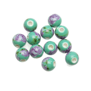 Green & Lavender Ceramic Flowers Round 10mm BeadsBeads by Halcraft Collection