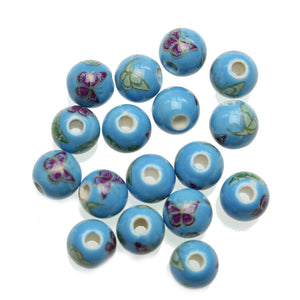 Blue 10mm Round Butterfly Mix Ceramic Beads - Beads by Bead Gallery