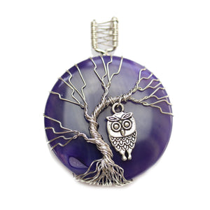 Blue Dyed Agate Stone Tree of Life Round 50mm PendantPendant by Halcraft Collection