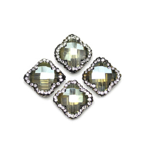 Green Iris Half Coat Faceted Glass with Rhinestones Beads
