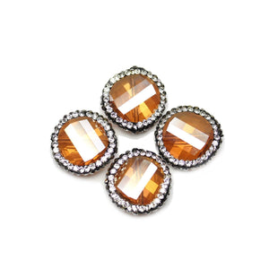 Amber Glass with Luster Coat Faceted with Rhinestones Beads