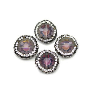 Multi Iris Half Coat Glass with Luster Coat Faceted with Rhinestones Beads