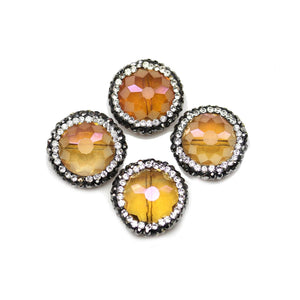 Orange Luster Faceted Glass with Rhinestones Beads