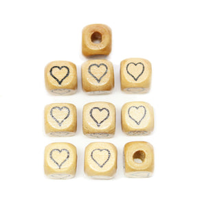 Natural Wood 10mm Cube Beads with Clear Lacquer & Black Printed Heart