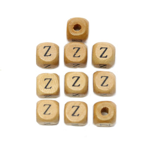 Natural Wood 10mm Cube Beads with Clear Lacquer & Black Printed Letter Z
