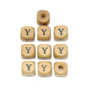 Natural Wood 10mm Cube Beads with Clear Lacquer & Black Printed Letter Y