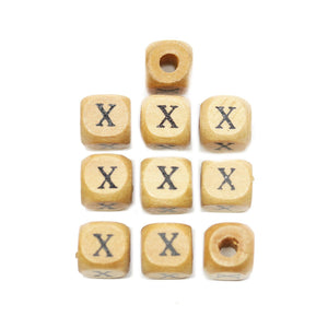 Natural Wood 10mm Cube Beads with Clear Lacquer & Black Printed Letter X