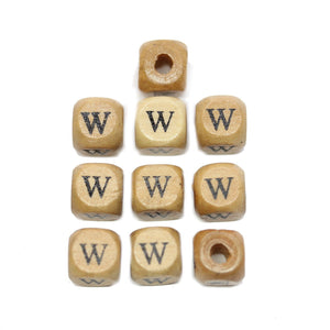 Natural Wood 10mm Cube Beads with Clear Lacquer & Black Printed Letter W