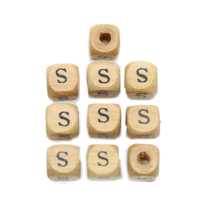 Natural Wood 10mm Cube Beads with Clear Lacquer & Black Printed Letter S