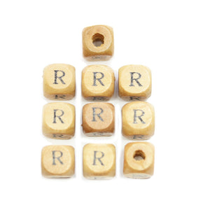 Natural Wood 10mm Cube Beads with Clear Lacquer & Black Printed Letter R