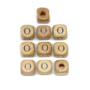 Natural Wood 10mm Cube Beads with Clear Lacquer & Black Printed Letter O
