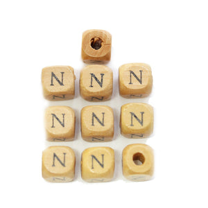 Natural Wood 10mm Cube Beads with Clear Lacquer & Black Printed Letter N
