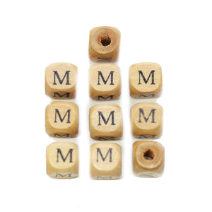Natural Wood 10mm Cube Beads with Clear Lacquer & Black Printed Letter M