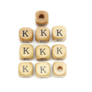 Natural Wood 10mm Cube Beads with Clear Lacquer & Black Printed Letter K