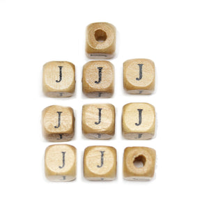 Natural Wood 10mm Cube Beads with Clear Lacquer & Black Printed Letter J