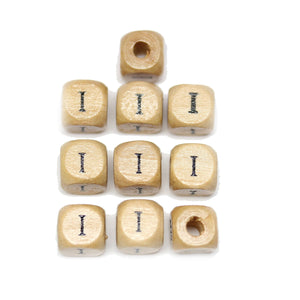 Natural Wood 10mm Cube Beads with Clear Lacquer & Black Printed Letter I