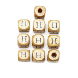 Natural Wood 10mm Cube Beads with Clear Lacquer & Black Printed Letter H