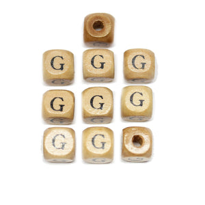 Natural Wood 10mm Cube Beads with Clear Lacquer & Black Printed Letter G