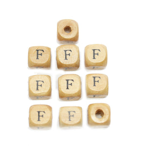Natural Wood 10mm Cube Beads with Clear Lacquer & Black Printed Letter F