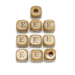 Natural Wood 10mm Cube Beads with Clear Lacquer & Black Printed Letter E