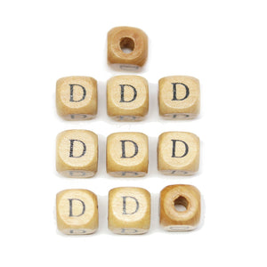 Natural Wood 10mm Cube Beads with Clear Lacquer & Black Printed Letter D