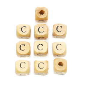 Natural Wood 10mm Cube Beads with Clear Lacquer & Black Printed Letter C